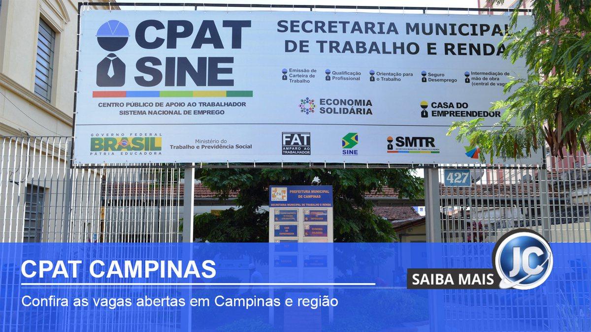 CPAT de Campinas SP oferece diversas vagas de emprego
