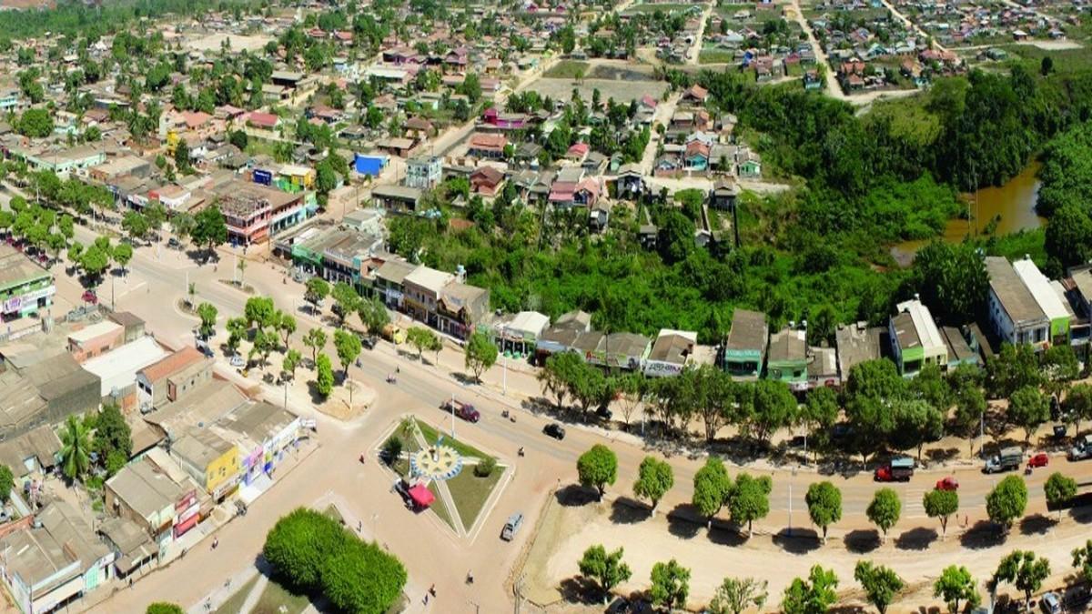 Vista aérea do município de Uruará, no Estado do Pará