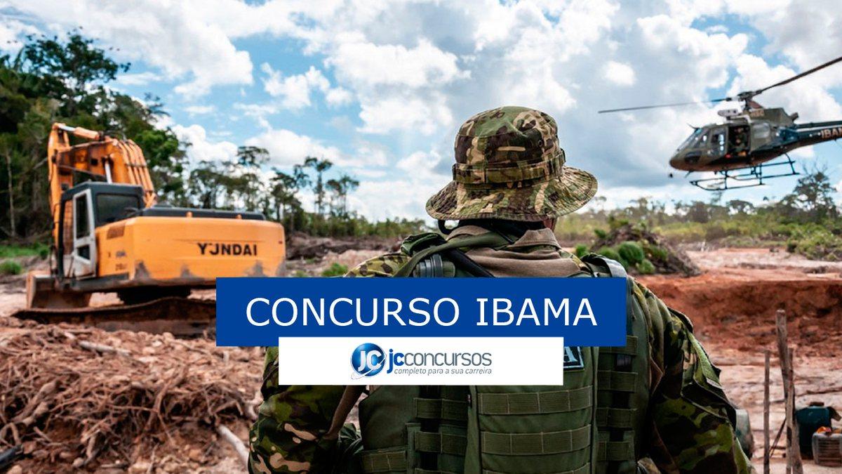 Concursos Ibama: agente observando helicóptero