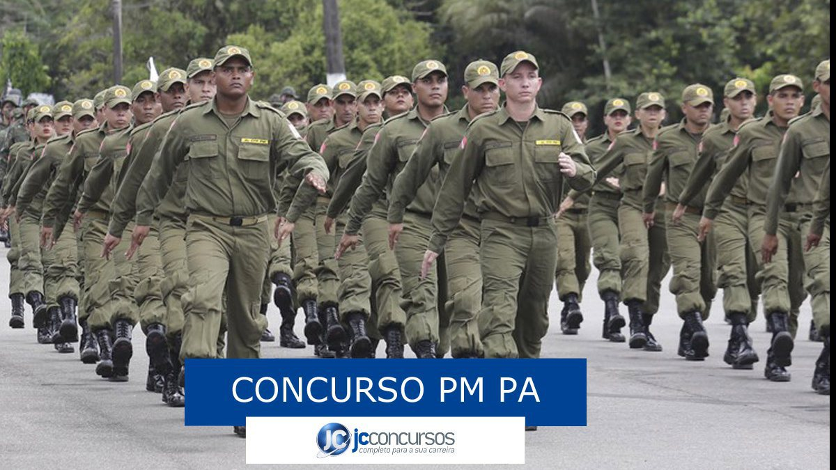 Concurso PM PA: soldados da PM marchando