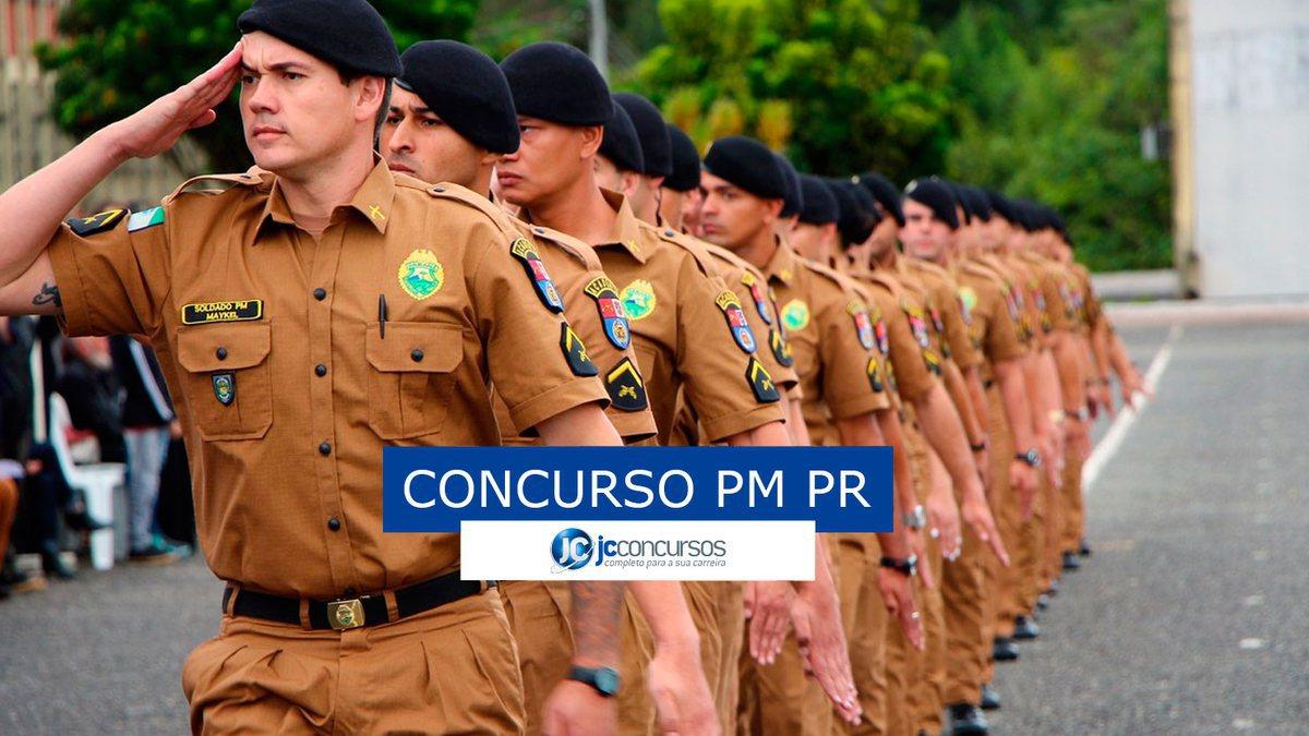 Concurso PM PR: soldados da Polícia Militar do Paraná perfilados