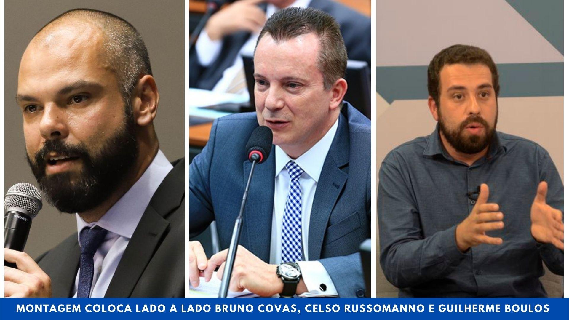 Montagem coloca lado a lado Bruno Covas, Celso Russomanno e Guilherme Boulos