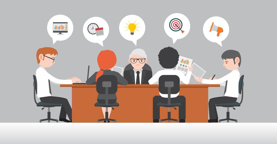 Reunião entre equipe e líder corporativo